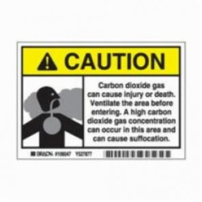 Brady® 106047 Laminated Rectangle Carbon Dioxide Sign, 3-1/2 in H x 5 in W, Black/Yellow on White, Self-Adhesive Mount, B-302 Polyester