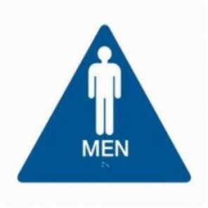 Brady® 106179 Triangle California/ADA Restroom Sign, 10 in H x 11 in W, White on Blue, Surface Mount, B-401 Plastic