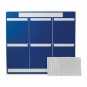 Brady® 114613 Six Panel Lean Communication Board, 34-1/4 in H x 37-1/4 in W x 1/4 in D, Preboard with Polystyrene Foam Core, Blue