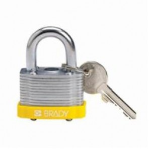 Brady® 143132 Key Retaining Safety Padlock, Keyed Different Key, 17/64 in Shackle, LOTO-11 Reinforced Laminated Steel Body, 5-Pin Cylindrical Locking
