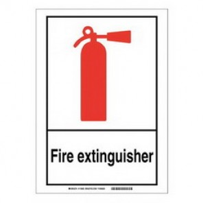 Brady® 119955 Fire Safety Sign, 14 in H x 10 in W, Black/Red on White, B-302 Polyester
