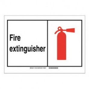Brady® 119962 Fire Safety Sign, 14 in H x 10 in W, Black/Red on White, Self-Adhesive Mount, B-946 Vinyl