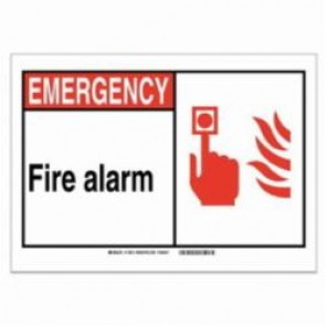 Brady® 120108 Fire Safety Sign, 5 in H x 7 in W, Black/Red on White, Self-Adhesive Mount, B-946 Vinyl
