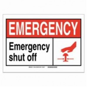 Brady® 120161 Fire Safety Sign, 5 in H x 7 in W, Black/Red on White, Self-Adhesive Mount, B-946 Vinyl