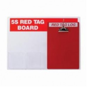 Brady® 122049 Rectangle 5S Red Tag Station, Unfilled, 16 in H x 22 in W, Acrylic, Red on White