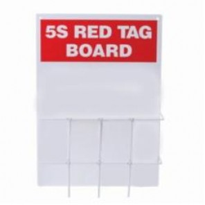 Brady® 122051 Rectangle 5S Red Tag Station, Unfilled, 20 in H x 14 in W, Polycarbonate, Red on White