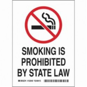 Brady® 123041 Laminated Rectangle No Smoking Sign, 7 in H x 5 in W, Black/Red on White, Self-Adhesive Mount, B-302 Polyester