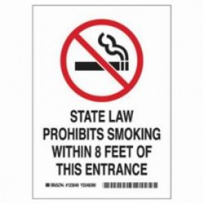 Brady® 123048 No Smoking Sign, 7 in H x 5 in W, Black/Red on White, Self-Adhesive Mount, B-946 Vinyl
