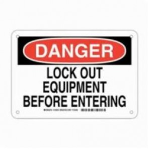 Brady® 123636 Rectangular LockOut/Tag out Sign, 7 in H x 10 in W, Black/Red on White, Surface Mount, B-401 Plastic