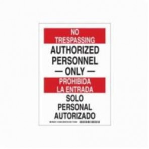 Brady® 124008 Rectangle Security Sign, 10 in H x 7 in W, Black/Red on White, Surface Mount, B-401 Plastic