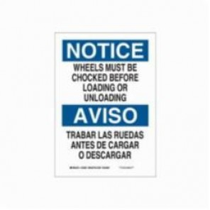 Brady® 125085 Rectangle Notice Sign, 10 in H x 7 in W, Black/Blue on White, Surface Mount, B-555 Aluminum