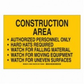 Brady® 126851 Construction Site Sign, 10 in H x 14 in W, Black/Yellow, Surface Mount, B-302 Polyester