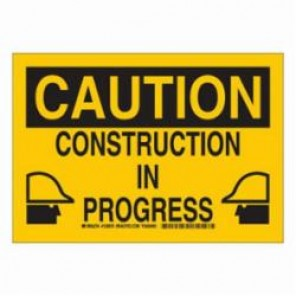 Brady® 126870 Construction Site Sign, 7 in H x 10 in W, Black/Yellow, Surface Mount, B-555 Aluminum