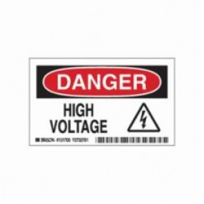 Brady® 131705 Danger Safety Sign, 5 in W x 3 in H, Red/Black on White, B-302 Polyester, DANGER HIGH VOLTAGE (W/PICTO)
