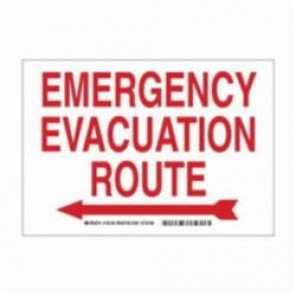 Brady® 132152 Rectangle Exit Sign and Signage, 14 in H x 10 in W, Red on White, Surface Mount, B-401 Plastic