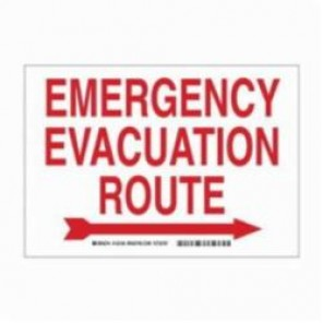 Brady® 132160 Rectangle Exit Sign and Signage, 7 in H x 10 in W, Red on White, Surface Mount, B-401 Plastic