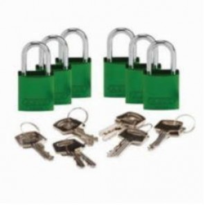Brady® 133272 Compact Lightweight Safety Padlock, Keyed Different Key, 1/4 in Shackle, Aluminum Body, Green, 5-Pin Cylindrical Locking