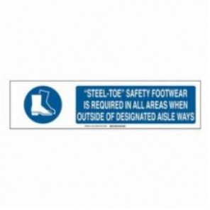 Brady® 140749 Safety Sign Slider Insert, 6 in H x 23-7/8 in W, Blue on White, B-401 High Impact Polystyrene