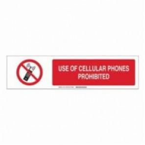 Brady® 140771 Safety Sign Slider Insert, USE OF CELLULAR PHONES PROHIBITED, 6 in H x 23-7/8 in W, Black/Red on White