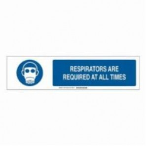 Brady® 140820 Sign Slider Insert, RESPIRATORS ARE REQUIRED AT ALL TIMES, 6 in H x 23-7/8 in W, Blue on White