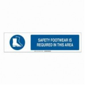 Brady® 140781 Safety Sign Slider Insert, SAFETY FOOTWEAR IS REQUIRED IN THIS AREA, 6 in H x 23-7/8 in W, Blue on White