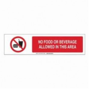 Brady® 140804 Safety Sign Slider Insert, NO FOOD OR BEVERAGE ALLOWED IN THIS AREA, 6 in H x 23-7/8 in W