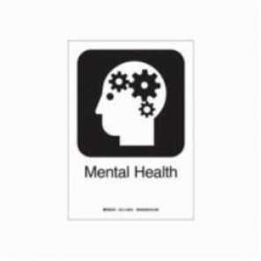 Brady® 142518 Rectangular Hospital Sign, 10 in H x 7 in W, Black on White, Self-Adhesive Mount, B-302 Polyester