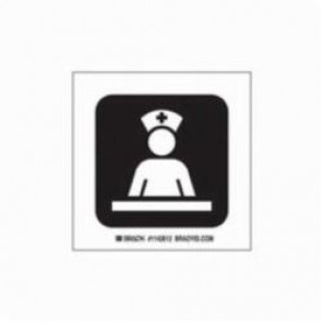 Brady® 142612 Square Hospital Sign, 4 in H x 4 in W, Black on White, Self-Adhesive Mount, B-302 Polyester