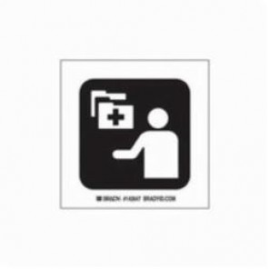 Brady® 142593 Square Hospital Sign, 8 in H x 8 in W, Black on White, Self-Adhesive Mount, B-302 Polyester