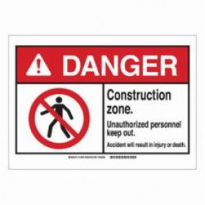 Brady® 143873 Danger Sign, 7 in H x 10 in W, Black/Red on White, Corner Hole Mount, B-401 High Impact Polystyrene