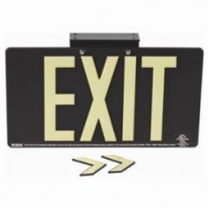 Brady® 145502 BradyGlo™ Exit Sign, 8-1/2 in H x 15-1/2 in W, Black, Surface Mount, Composite Aluminum