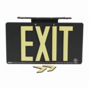 Brady® 145513 BradyGlo™ Exit Sign, 8-1/2 in H x 15-1/2 in W, Black, Surface Mount, Composite Aluminum