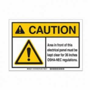 Brady® 145736 ToughWash™ Facility ID Pre-Printed Caution Sign, 10 in W x 7 in H, Black/Yellow on White, B-869 Encapsulated Plastic, CAUTION AREA IN FRONT OF THIS ELECTRICAL PANEL MUST BE KEPT CLEAR FOR 36 INCHES OSHA-NEC REGULATION