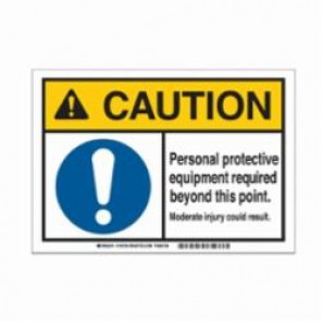 Brady® 145757 Metal Detectable Sign, 10 in H x 14 in W, Black/Blue/Yellow on White, Corner Hole Mount, B-869 Encapsulated Plastic