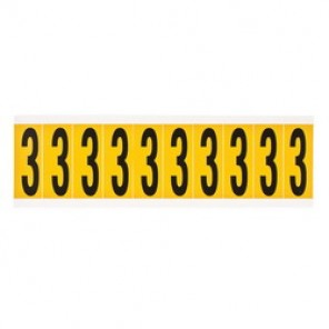 "Brady® 1520-3 Standard Number Label, 5/8 in 3"" Character, 3/4 in H x 9/16 in W, Black on Yellow"""