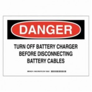 Brady® 16953 Electrical Hazard Sign, 14 in W x 10 in H, Black/Red on White, B-401 Plastic, DANGER TURN OFF BATTERY CHARGER BEFORE DISCONNECTING BATTERY CABLES