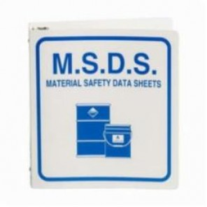 Brady® Prinzing® 2023VF MSDS Binder, M.S.D.S. MATERIAL SAFETY DATA SHEETS (with barrel pictos), English, Blue on White, 1-1/2 in Ring, 30 in H