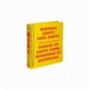 Brady® Prinzing® 2026 Standard MSDS Binder, MATERIAL SAFETY DATA SHEETS PLIEGOS DE DATOS SOBRE SEGURIDAD DE MATERIALES, Bilingual, Red on Yellow, 1-1/2 in Ring, 11-1/2 in H