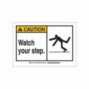 Brady® 21803 Caution Sign, 7 in H x 10 in W, Black/Yellow on White, Surface Mount, B-401 Plastic
