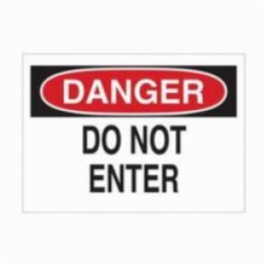 Brady® 87750 Laminated Rectangle Admittance Sign, 3-1/2 in H x 5 in W, Black/Red on White, Self-Adhesive Mount, B-302 Polyester