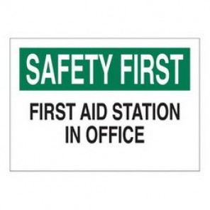 Brady® 85328 First Aid Sign, 10 in H x 14 in W, Green/Black on White, Surface Mount, B-302 Polyester