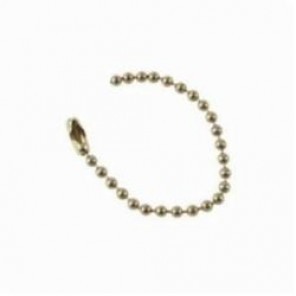 Brady® 23306 Extremely Flexible Beaded Chain With Locking Link, 4-1/2 in L, #6 Brass, Brass Plated Steel