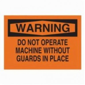 Brady® 25026 Rectangle Machine & Operational Sign, 10 in H x 14 in W, Black on Orange, Surface Mount, B-401 Plastic