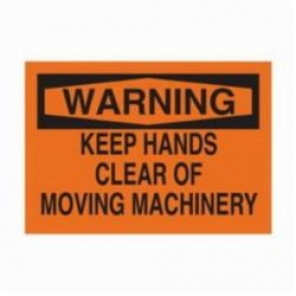 Brady® 25031 Rectangle Machine & Operational Sign, 7 in H x 10 in W, Black on Orange, Surface Mount, B-401 Plastic