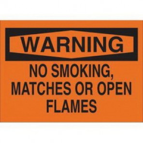 Brady® 25105 No Smoking Sign, 10 in H x 14 in W, Black on Orange, Surface Mount, B-401 Plastic