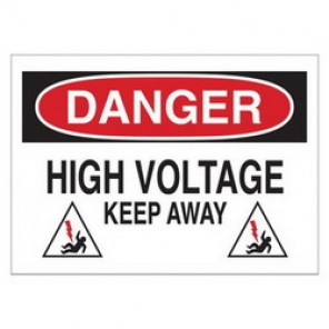 Brady® 25540 Electrical Hazard Sign, 10 in W x 7 in H, DANGER HIGH VOLTAGE KEEP AWAY (W/PICTO), Black/Red on White