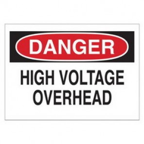 Brady® 25546 Electrical Hazard Sign, 10 in W x 7 in H, DANGER HIGH VOLTAGE OVERHEAD, Black/Red on White, B-401 Plastic
