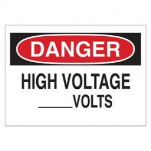 Brady® 25553 Electrical Hazard Sign, 14 in W x 10 in H, DANGER HIGH VOLTAGE _VOLTS, Black/Red on White, B-401 Plastic