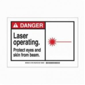 Brady® 83908 Laminated Rectangle Safety Sign, 3-1/2 in H x 5 in W, Black/Red on White, Self-Adhesive Mount, B-302 Polyester