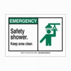 Brady® 83936 Laminated Rectangle Safety Sign, 3-1/2 in H x 5 in W, Black/Green on White, Self-Adhesive Mount, B-302 Polyester